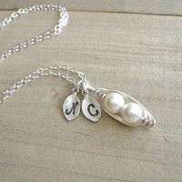 Mother's Day gift - sterling silver peas in a pod necklacw