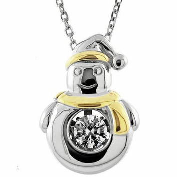Gems In Motion Snowman Gold Scarf Sterling Silver Swarovski CZ Pendant