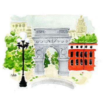 Art Print Wall Art: NYC Washington Square Park {cute art print, cute wall art, city wall art}