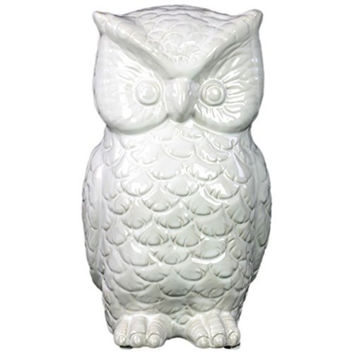 Striking ceramic owl figurine gloss white