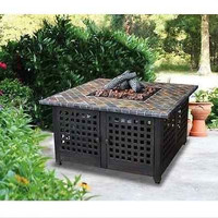 Square Black Cast Iron Gas Wood Fire Pit Patio Yard New Antique bronze finish