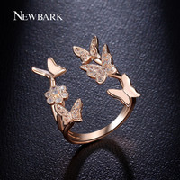 OPAL FERRIE - Lovely Open Rose Plated CZ Butterfly Ring