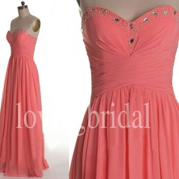 Long Coral Prom Dresses Shinning Crystal Bridesmaid Dresses Lovely Sweetheart Party Dresses 2014 New Fashion