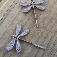 Dragonfly Bobby Pins, Charcoal Gray Dragonfly, Set of Two, Nickel Free Dragonflies, Dragonflies, Dragonfly Hair Clips, Grey Dragonflies
