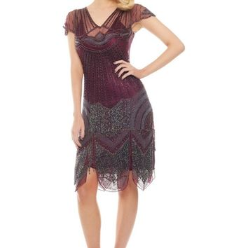 Beatrice Fringe Flapper Dress in Plum
