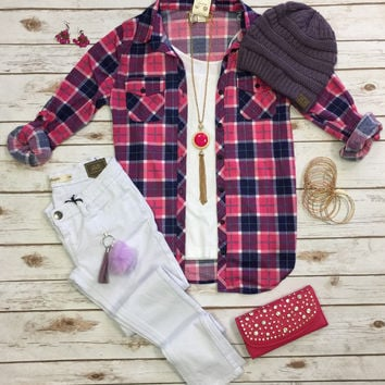 Penny Plaid Flannel Top: Pink/Purple