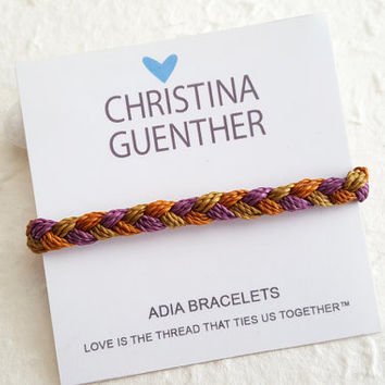 ADIA Bracelets - Braided Autumn Colors Friendship Bracelets, Hand crafted Bracelet, Adjustable Size, Handmade USA Christina Guenther