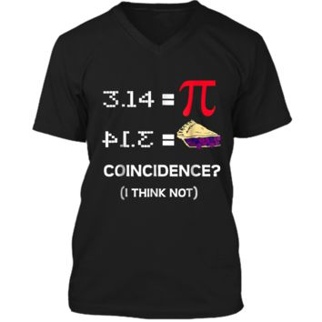 Pi Equals Pie Funny Math Pun Pi Day  Mens Printed V-Neck T