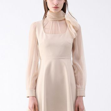 Evocative Tie Neck Sheer Dress in Cream