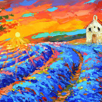 Chapel in Provence - Oil palette knife on canvas Painting by Dmitry Spiros. wall decor, home decor, poppy painting, living room decor art
