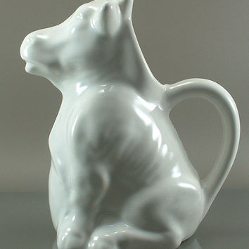 Vintage WHITE COW Milk PITCHER,Creamer,Bull,Cow, Flower Planter,White,Moo,Home Alone Movie