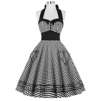 Women Dress Plus Size Summer Clothing 2016 Retro Swing Short Gown robe Pin up Plaid Vintage 60s 50s Rockabilly Dresses vestidos