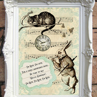ALICE in Wonderland Quote Art Print. Shabby Chic Decor. Vintage Style Alice Wall Art. Alice in Wonderland Decoration. Alice Print. Code:A09