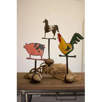 Set Of 3 Painted Metal Barn Animals With Caged Rock Base