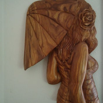 Girl with Umbrella - Hand carved sculpture - Elm wood sculpture - Wall decor - Wall sculpture - Original artwork - Hand wood carving - Art