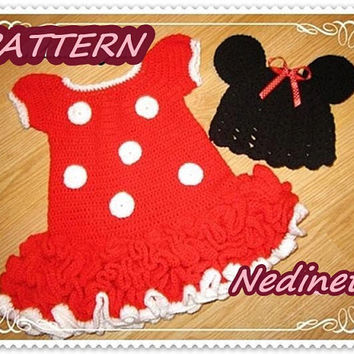 Minnie Mouse Pattern, dress and hat set, 12-18 months, 18-24 months pdf pattern