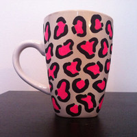 Pink leopard print coffee cup from Paint and Polish
