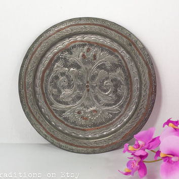 Decorative Wall Plate:  Wall Hanging Hindu-Persian Metal Hand-Crafted Plate, Wall Decor Plate, Hammered Metal