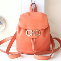 Ferragamo Gancini Backpack Orange Leather mini handbag purse authentic