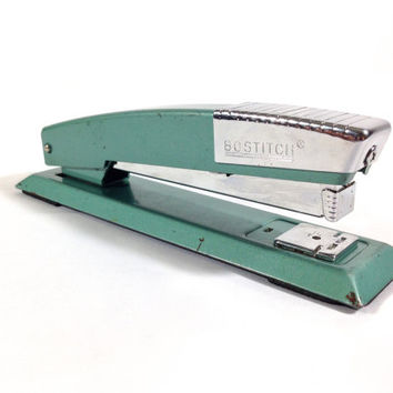 Vintage Bostitch Stapler Teal & Chrome Industrial Art Deco Office Supplies Silver and Turquiose Steel Stapler Retro MCM Design Model B12