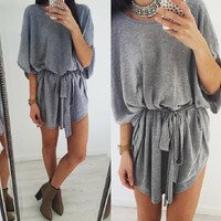 Loose bat sleeve casual beach dress