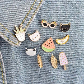 10 pcs/set Fashion Brooch Pins Button Cat kitten Lemon Leaves Potted plants Watermelon Popsicles Sunglasses Badge Summer Jewelry