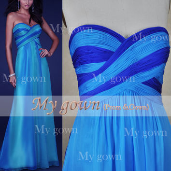 A Line Strapless two-tone Draped Backless Chiffon Long Blue Prom Dress, Party Dress, Evening Gown