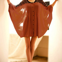 Contrast Lace Bat Sleeve Loose Blouse