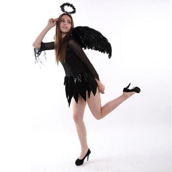 Black 3 PC Halloween Feather Angel/Fairy Wings Wand & Halo (S,L)