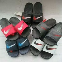 """Nike"" Summer Fashion Gradient Color Hook Logo Slippers Men Home Sandals Flats Shoes"