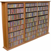 "Bookcase Media Tower - Triple (Oak) (50""H x 76""W x 9.5""D)"