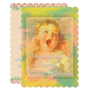 Awaiting baby's first breath shower invitation