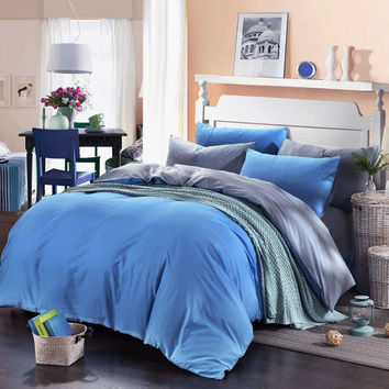 3 Or 4pcs Pure Cotton Sapphire Blue Grey Color Assorted Bedding Sets Quilt Cover 3 Size