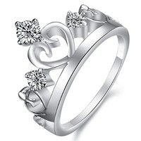 MP Crown Shape Diamante Embellishment Design Rhodium Plated Ring US 5 DDP 0704