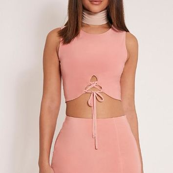 FASHION TWO PIECE PINK DRESS