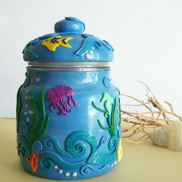 Polymer Clay decorated Glass Jar, Under the Sea