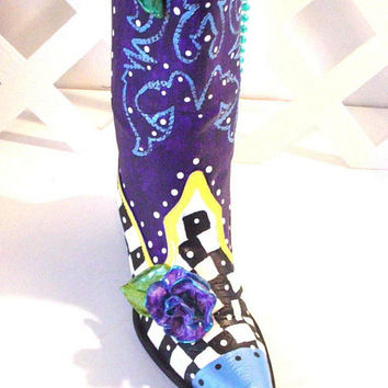Funky Boot Upcycled Cowboy Boot Vase Repurposed Western Boot Upcycled Boot Vase Handpainted Boot Leather Art Painted Boot Home Decor Boot