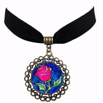 HOT! Movie beauty and the beast Choker Rose Velvet Choker Necklace Decoration Belle Necklace Cosplay Props