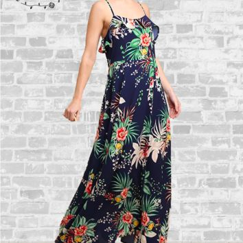 Tropical Floral Maxi Dress - Navy Blue - Small only