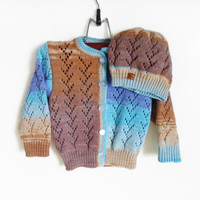 Knitted Baby Cardigan and Hat - Blue and Brown, 3 - 9 months