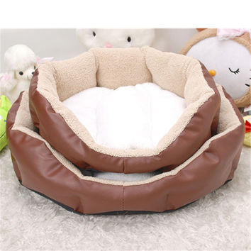 Octagonal Pet Dog kennel indoor Puppy Cat Bed Fleece Warm House Plush Mat and leather Pet Products cat Supplies unpick and wash