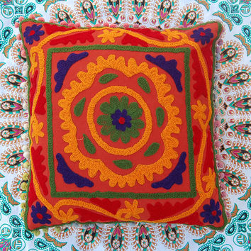 Decorative Cushion/Pillow Cases Suzani Cushion Cover Rangoli Style Indian Art Cute Gift Sofa Cover with colorful Pom Pom Christmas Decor 16""