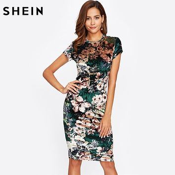 SHEIN Form Fitting Floral Velvet Dress Green Sexy Women Autumn Dress Short Sleeve Knee Length Elegant Pencil Dress