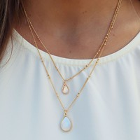 Follow The Bunny Necklace: Gold/Opal