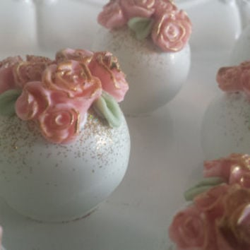 Garden Themed Cake Balls, Flower Cake Bites, bridal shower,  Baby Shower Cake balls, First birthday cake pops, baptism cakepops