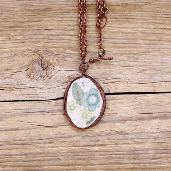 Vintage porcelain necklace tiffany pendant copper and tin necklace