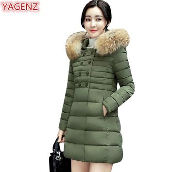 YAGENZ Women Cotton clothing Jacket Fur collar Winter Women's clothing Double breasted Warm Cotton Hooded Coat Long section 639