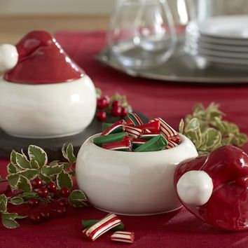 SANTA HAT LIDDED BOWL