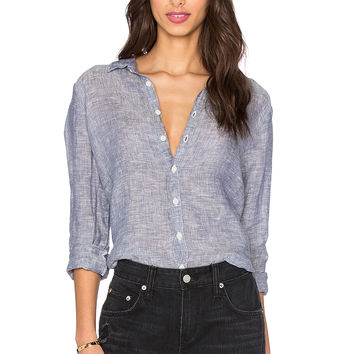 CP SHADES Romy Chambray Button Up Top in Medium Blue
