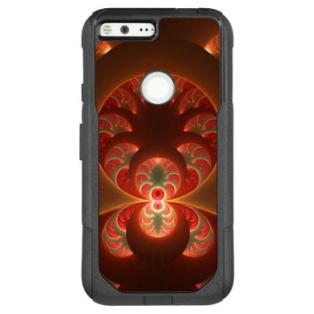 Luminous abstract modern orange red Fractal OtterBox Commuter Google Pixel XL Case